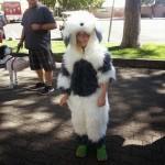 Girl dressed like a sheepdog at Dogtoberfest 2014